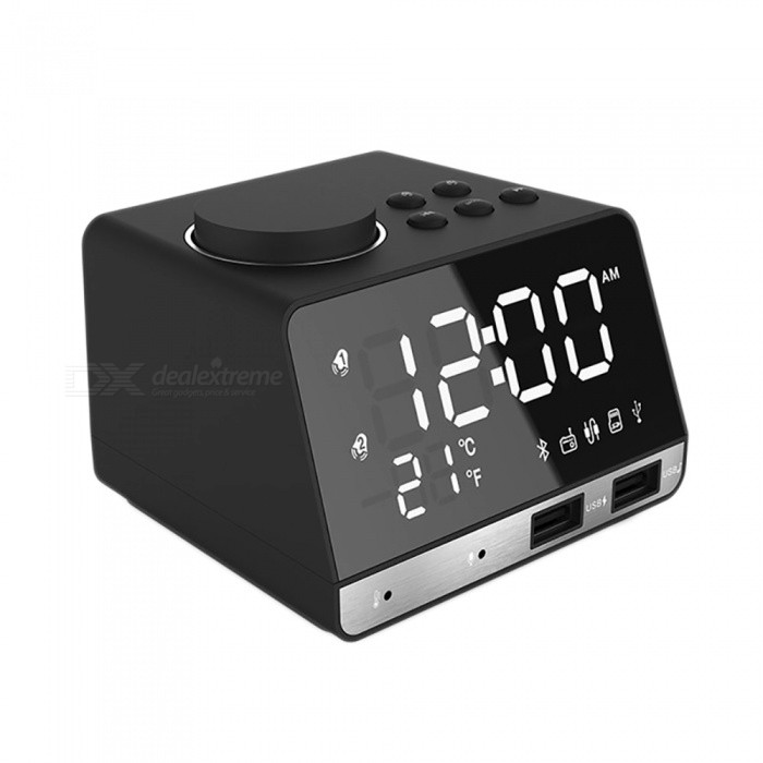 ESAMACT LED Digital Alarm Clock, Supports FM Radio with Wireless Bluetooth Speaker Player