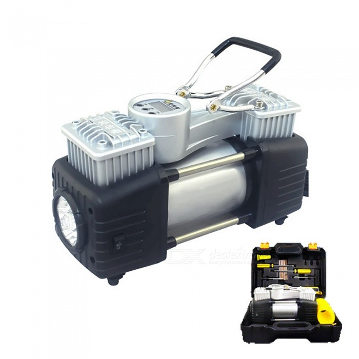 ESAMACT Portable Car Electric Inflator Pump, Vehicle Mounted Double Cylinder Inflatable Air Pump