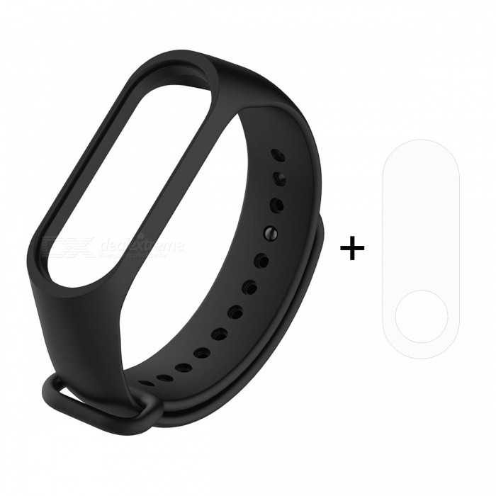 2 in 1 Watch Silicone Wristband Strap Replacement with TPU Screen Film for XIAOMI MI Band 3 - Black