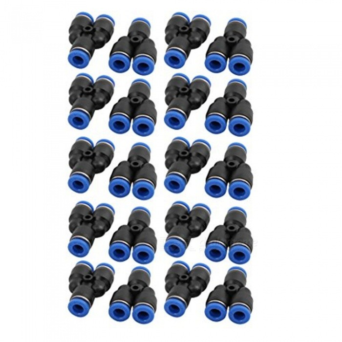 BTOOMET 20Pcs 6mm Dia Y Type 3 Ways Tube Hose Pneumatic Air Quick Fitting Push in Connector