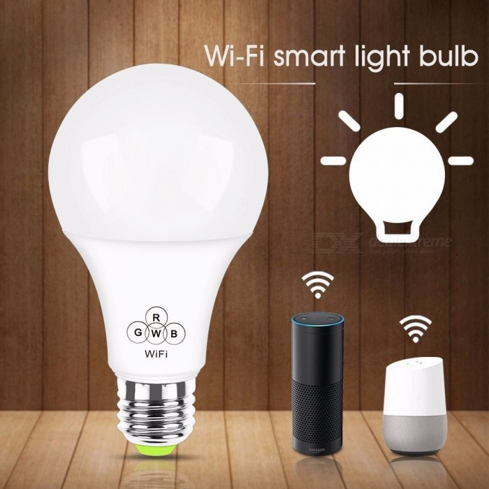 Smart White Transparent LED Bulbs Light Alexa Voice WiFi Remote Group Control 2700K-6500K 500LM White/E27
