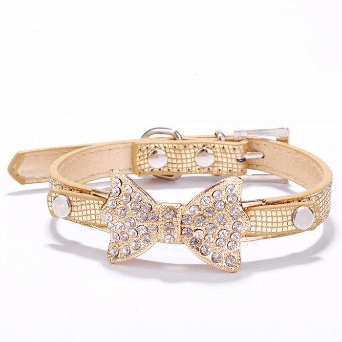 Bow Rhinestone PU Dog Collars Pet Supplies Artificial Diamond Bowknot Dog Leashes Collar - Gold