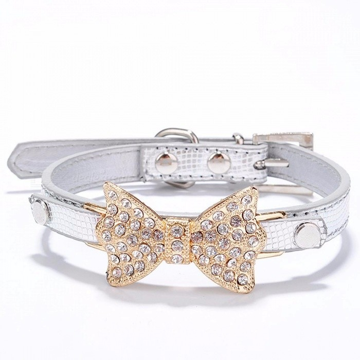 Bow Rhinestone PU Dog Collars Pet Supplies Artificial Diamond Bowknot Dog Leashes Collar - Silver