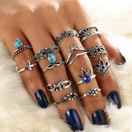 Retro Finger Rings Set For Women, Fashion Gem Crystal Rhinestones Decorated Gold Silver Ring Jewelry