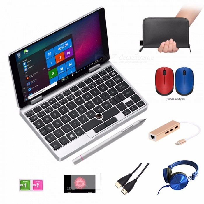"One Netbook One Mix Yoga Pocket Laptop 7"" IPS Touch Screen Windows 10 8GB DDR3 / 128GB eMMC w/ Stylus Silver Silver"