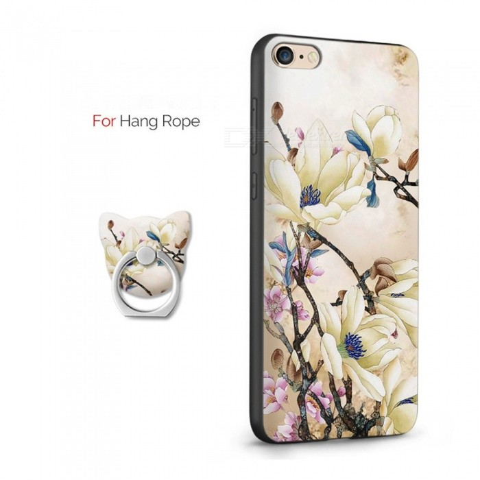 Beautiful Retro 3D Flower Print Case For IPHONE 6, 6S , Mobile Phone Soft TPU ABS Back Case With Ring Stand Set