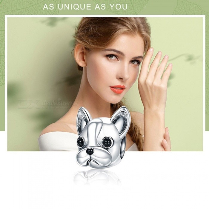 925 Sterling Silver Sweet Pet Pug Head Charm Fit Original Cute Lady Girl Bracelet Necklace Accessories DIY Jewelry Silver