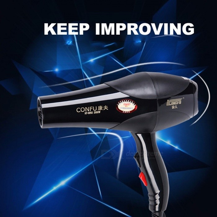 CONFU 8894 Professional Electric Hair Dryer Machine, Silent Design Large Power 2200W 4-Mode Hot / Cold Air Hairdryer Black