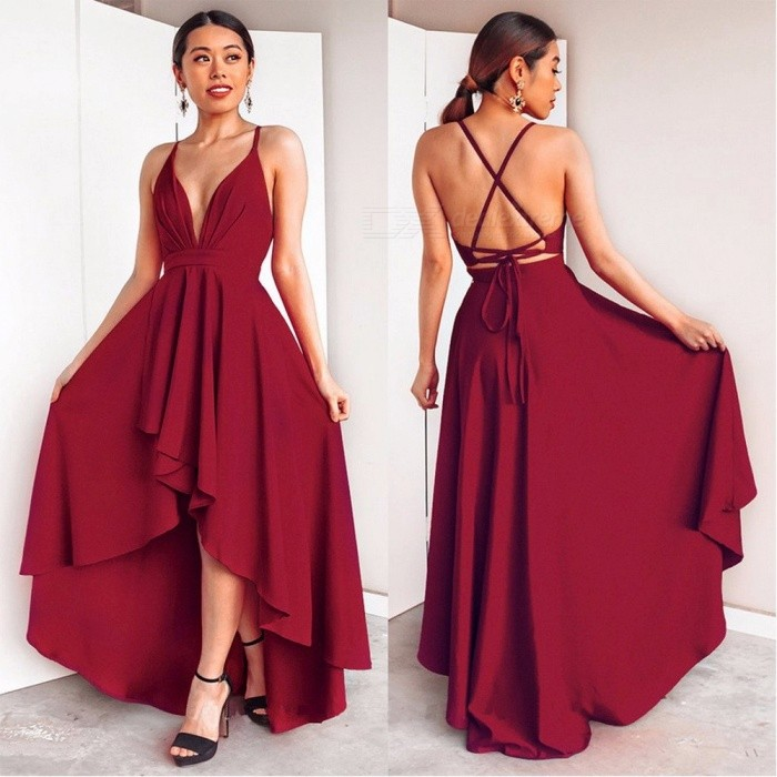 1006fed7 Women's Summer V-Neck Sling Dress, Asymmetrical Ruffles Backless Sexy Long  Dress For Lady Black/S - Free shipping - DealExtreme