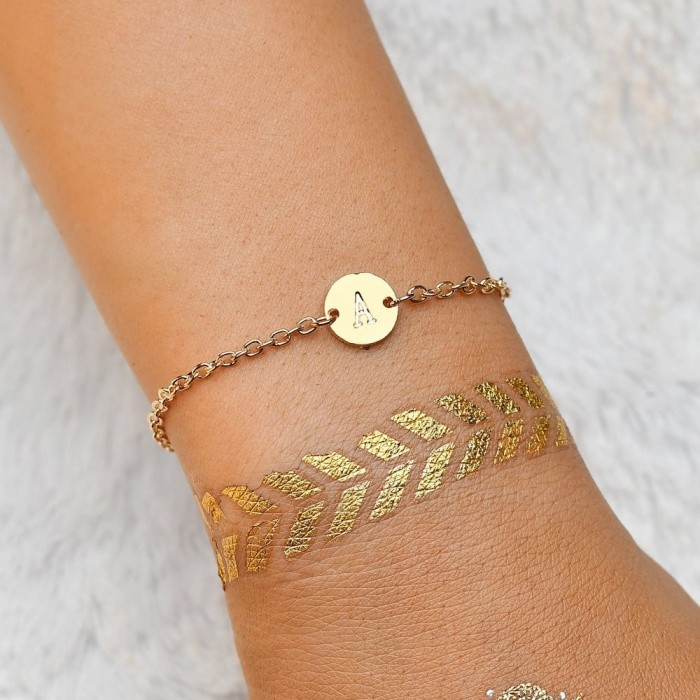 European Simple Gold Charm Lettering Anklet Bracelet, Female DIY Letter Bracelet Anklet Chain, Personality Foot Jewelry Yellow