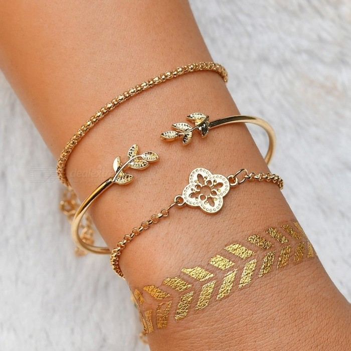 Hollow Flower Leaf Bangle Bracelet For Women Fashion Open Simple Bangles Set Personality Jewelry