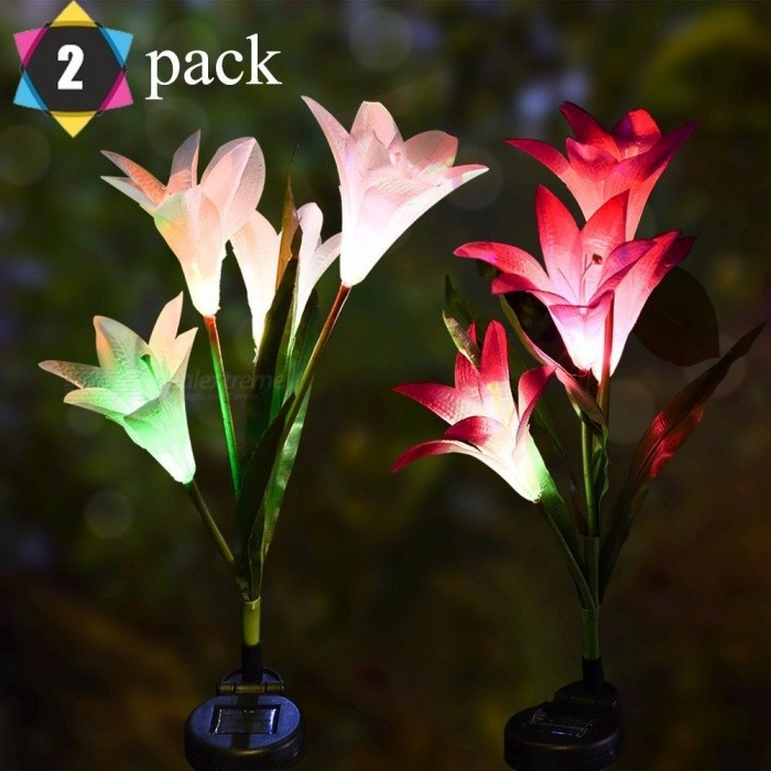 2Pcs Outdoor Solar Garden Stake Lights, Lily Flower Multi-color Changing LED Decorative Light For Garden Patio Backyard RGB/0-5W