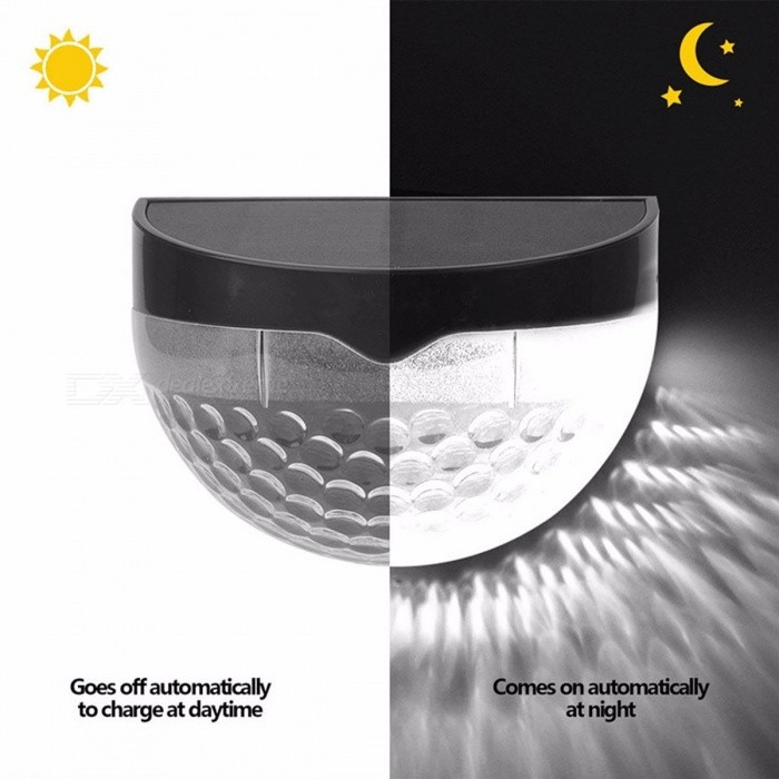 Outdoor Waterproof Solar Powered LED Wall Lamp, Courtyard Garden Porch Corridor Light White/0-5W/Black