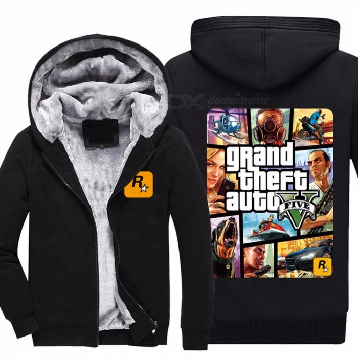 Mens Hoodies Grand Theft Auto Warm Thick Velvet Cardigan Sweater Men's Winter Long Sleeve Hoodie Fur Lining Sweater Black/M