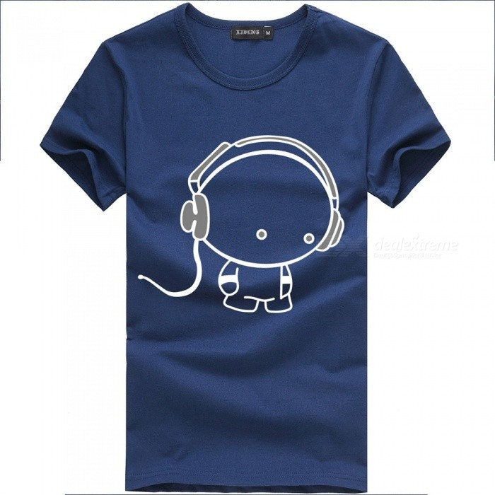 2018 New Fashion Simple Lovely Design Men T Shirt Short Sleeve Cotton T-Shirt For Men With Headset Pattern