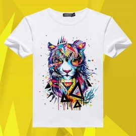 Men\'s T Shirt Short Sleeves 3D Print Tiger Cotton Tee O-Neck Cotton T-shirt White/S