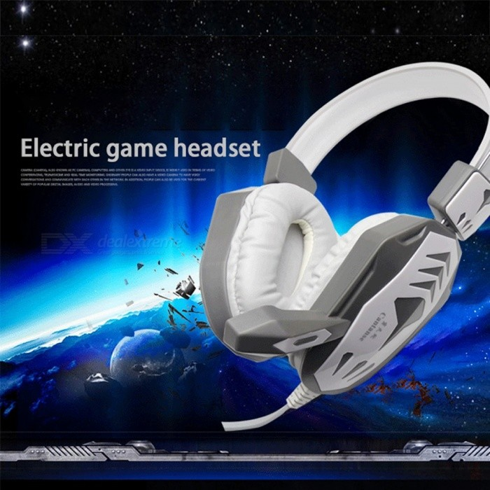 DT136 Head-mounted Gaming Headset Wired Headband Headphone Gaming Headphones White