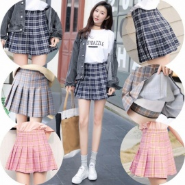 Women-Plaid-A-line-Skirt-2018-Spring-Summer-New-Hot-Fashion-Female-High-waisted-Classic-Basic-Bottoms-Shorts-Lady-Skirts