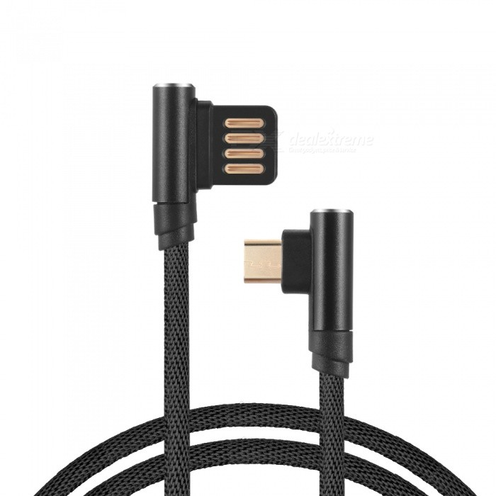 Quelima Gold-plated Elbow Double-sided Insert Micro USB Mobile Phone Charging Data Cable