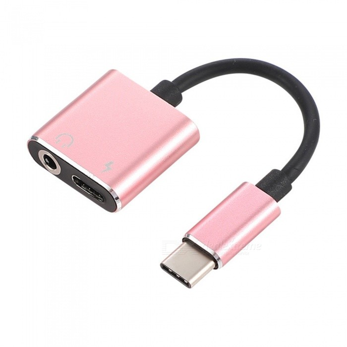 Quelima 2-in-1 Type-C Male to Type-C Female and 3.5mm Audio Mobile Phone Adapter, Extension Cable