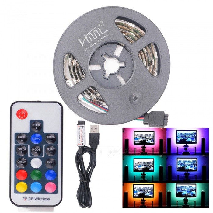 HML 5V 2M USB Bias 5050 x 60 RGB Light Waterproof LED Strip Light w/ 3/17/24-Key RF Remote Controller