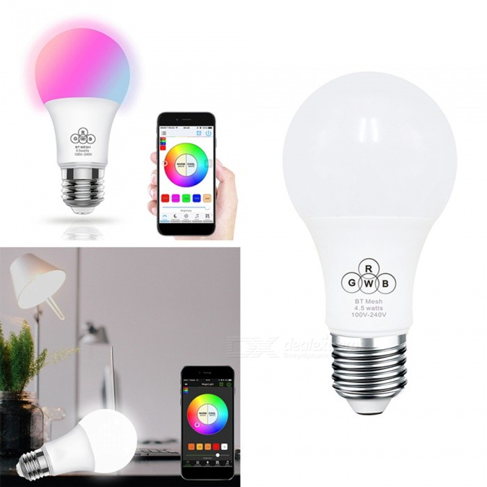 ZHAOYAO A60 E27 4.5W Dimmable 350LM AC 100-240V Bluetooth Smart RGB+W LED Bulb Light