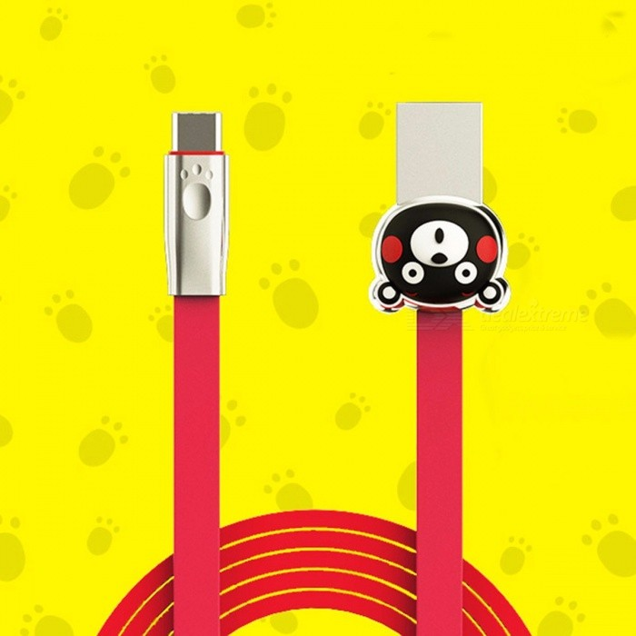 ROMOSS Mobile Phone Cables USB Type-c Kumamoto Bear KCB30 Phone Charger Cable For Huawei Samsung Red