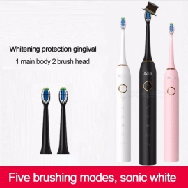 USB-Rechargeable-Sonic-Electric-Toothbrush-With-2Pcs-Replaceable-Brush-Heads-Waterproof-Automatic-Teeth-Tooth-Brush-White