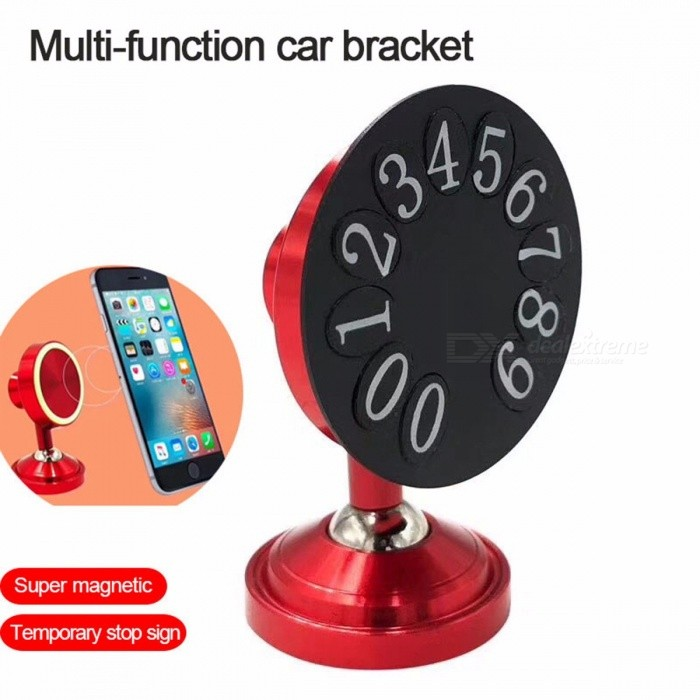 Novelty Magnetic Adhesive Car Phone Holder, 360 Degree Rotation Mobile Phone Desktop Holder Stand Parking Number Plate Red