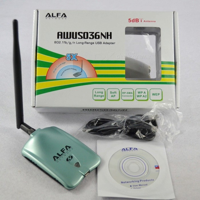 Lot of 5 ALFA Network AWUS036NEH-003 Wireless USB Adapter WiFi Cards w//Antenna