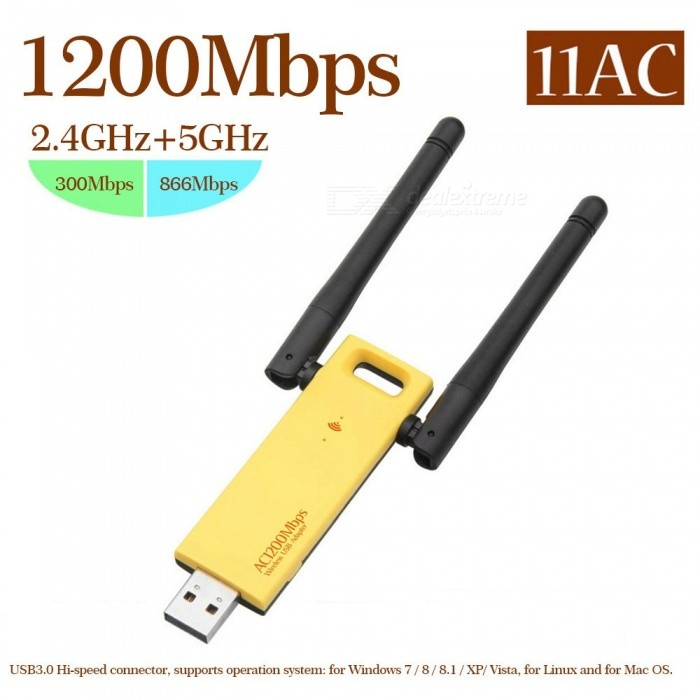 USB3.0 AC 1200Mbps Wireless Dual Band USB Adapter Wireless Network WiFi Adapter 2.4 / 5.0GHz Etherne Antenna For Laptop Gold