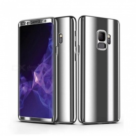 Mobile Phone Cases 360 Anti-knock Tempered Glass Phone Case For Samsung S9 Plus Silver/PC