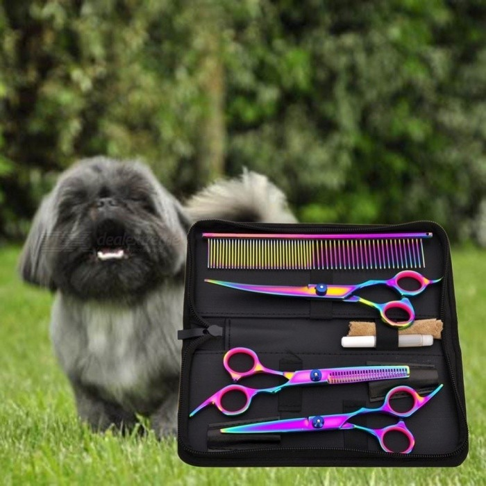 Pet-Hair-Cut-Colorful-Scissors-Clippers-Flat-Tooth-Cut-Pets-Beauty-Tools-Set-Kit-Dogs-Grooming-Hair-Cutting-Scissor-Set-Multi