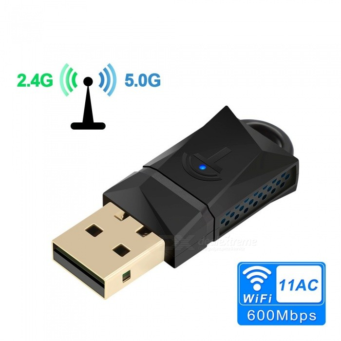 Rocketek 600Mbps USB WiFi Dongle Adapter, Dual Band USB Wireless Network Lan Card For PC Desktop Laptop Tablet Black