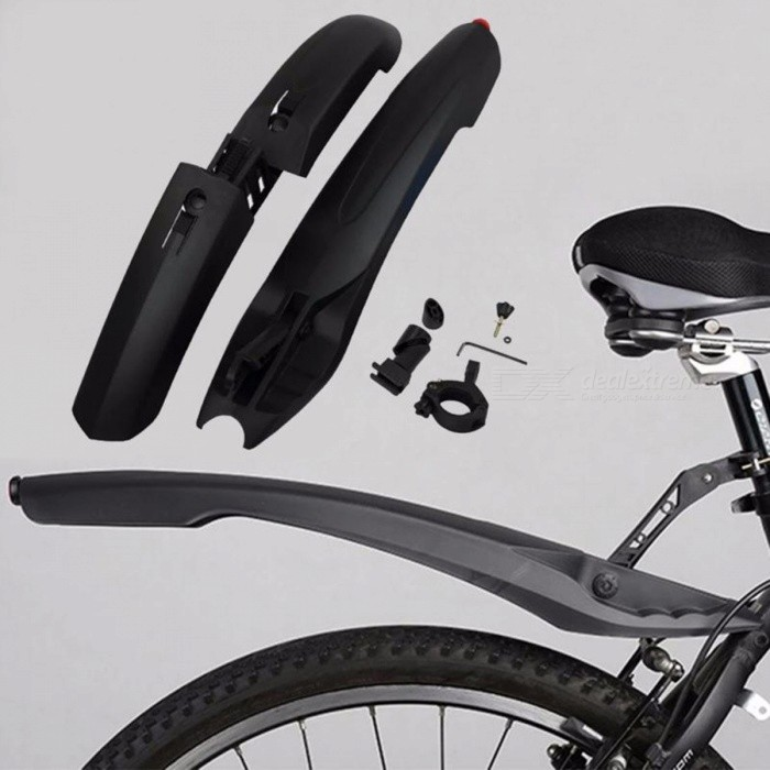 RockBros Bike Fender Set MTB Cycling Front /& Rear With LED Light Mudguard Red