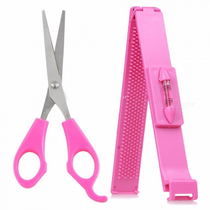 Styling Tools Artifact Neat Bang Cutting Scissors Clip Tool Kit Forehead Hair Trimmer Knife DIY Hairdressing Tools Pink
