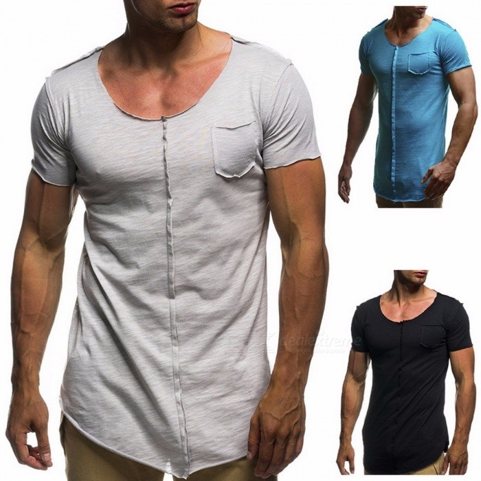 T-Shirt | Summer | Casual | Sleeve | Round | Short | Lake | Neck | Blue | Big | Tee | Men | Top