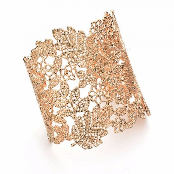 Retro Style Vintage Hollow-Out Leaf Shape Lace Chain Wristband Bracelet Bangle For Lady Girls Gold