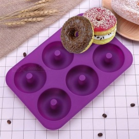 6-Cavity Donut Mould, Silicone Donut Baking Pan, Non-Stick Donut Mold, Safe Baking Tray Maker For Cake Biscuit Bagels Multi