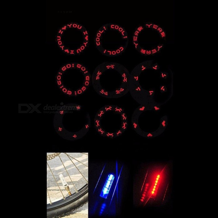 Mountain Bike Hot Wheels LIghts Spoke Lights Bicycle Value Lights Letter Patterns 1pair