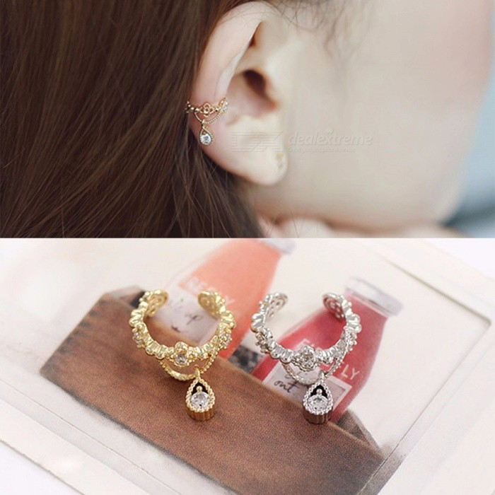 Zircon Rhinestone Drop Earrings Ear Clips Without Pierced Clip Crystal Earrings Ear Bone Clip Dangle
