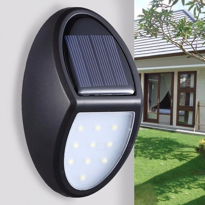 Solar Wall Lights Outdoor 10Leds  Waterproof  Super Bright Lights For Garden,Patio,Yard White/0-5W/Black