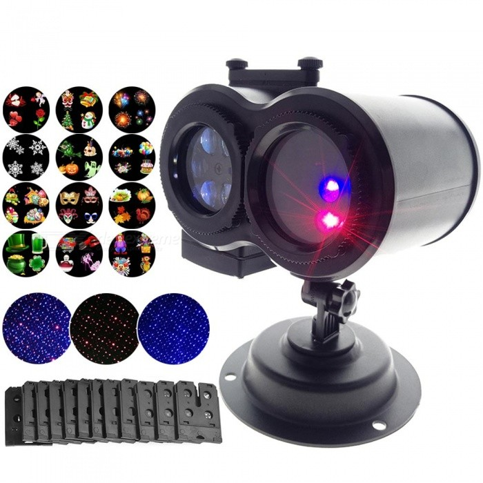 YouOKLight-Outdoor-LED-Lawn-Lamps-Laser-Spots-Projector-12-Cards-Party-Light-Christmas-XmasSnowflake-Lights-US-Plug