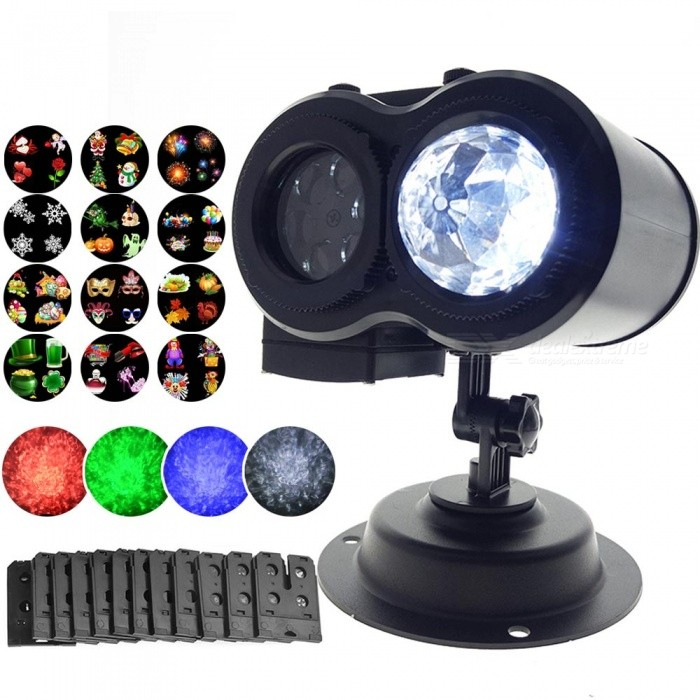 YouOKLight Outdoor LED Ocean Wave Lamp, Laser Spots Projector 12 Cards Party Light Christmas Xmas Snowflake Light