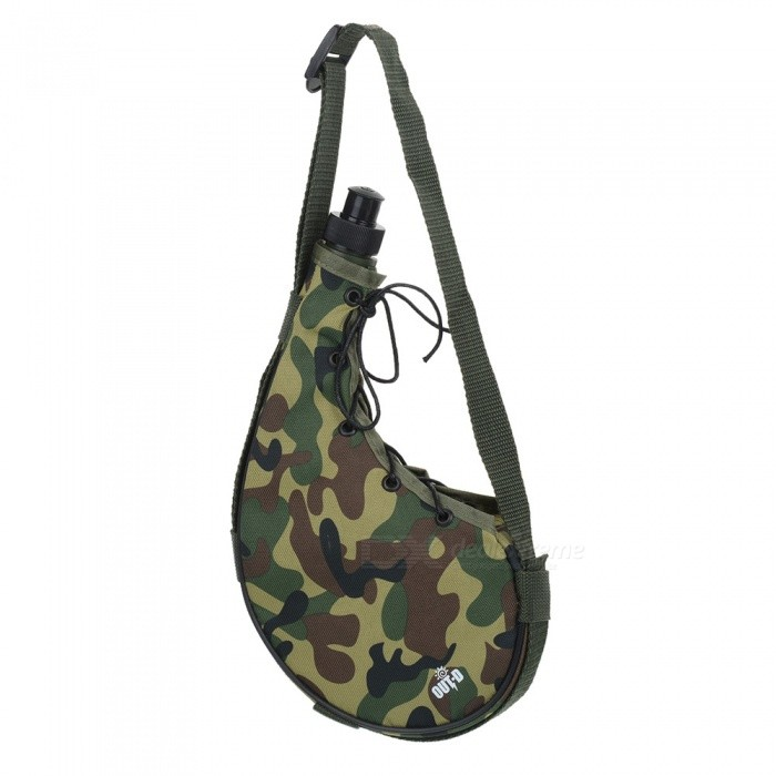 OUT-D outdoor camping wandelen water kantine 800ML drinkfles met cover - groene camouflage