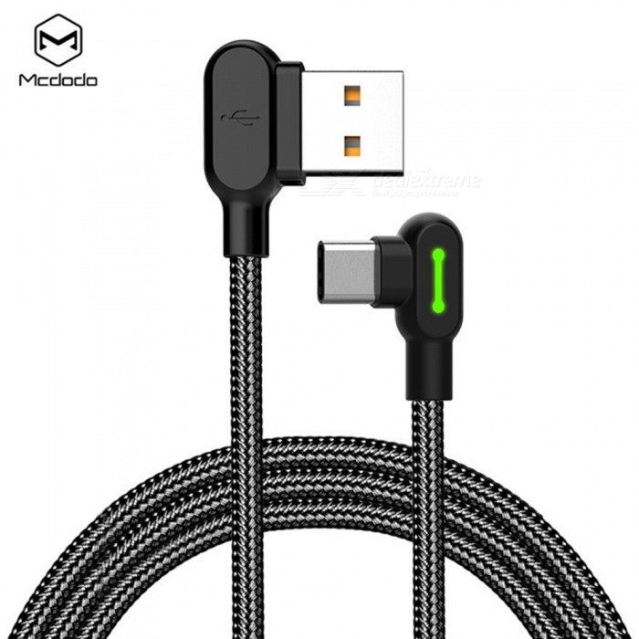 MCDODO Universal Angled USB Type-C Charging Data Sync Nylon Braided Cable For Mobile Phone, Dual Side Plug Black