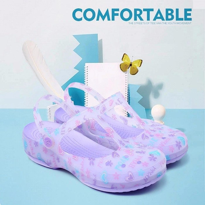 New Candy Color Large Size Thick Sandals Woman Anti-Skid Hole Jelly Rose Flower Shoes Flat Garden Beach Shoes Sky Blue/35