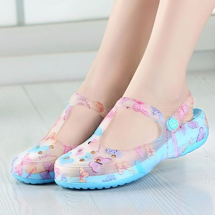 New-Candy-Color-Large-Size-Thick-Sandals-Womens-Anti-Skid-Hole-Jelly-Rose-Flower-Shoes-Flat-Garden-Beach-Shoes-Sky-Blue35