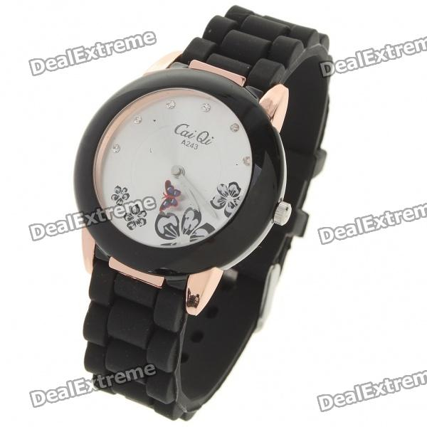 Fashion Quartz Wrist Watch with Butterfly Shaped Pointer - Black (1 x 377)