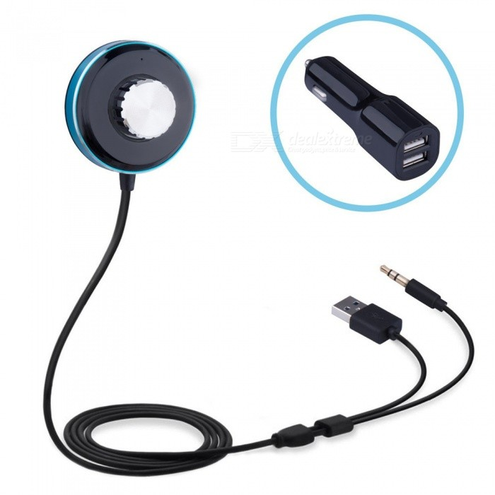 Bluetooth Car Receiver Kit, Handsfree IOS Siri with Dual USB Charger, Aux 3.5mm Audio Music Receiver Adapter
